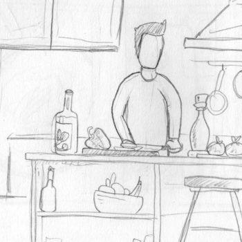 Scribble guy kitchen