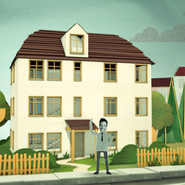 animation house in cardboard