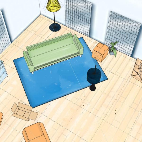 Topshot einer 3D Szene