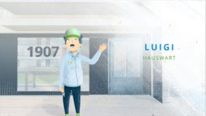 Hauswart Luigi winkt
