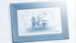 Bild der Familie hängt an der Wand