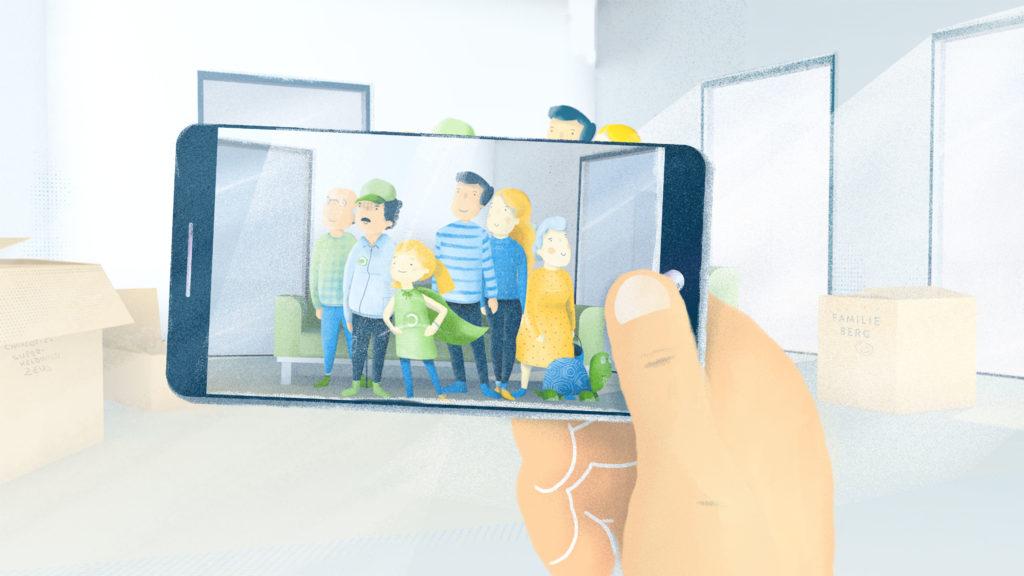 Hand mit Smartphone