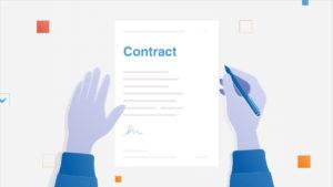 Hand unterschreibt Vertrag